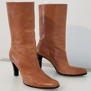 GUCCI Cognac Butterscotch Tan Boots Heels 37.5/ US